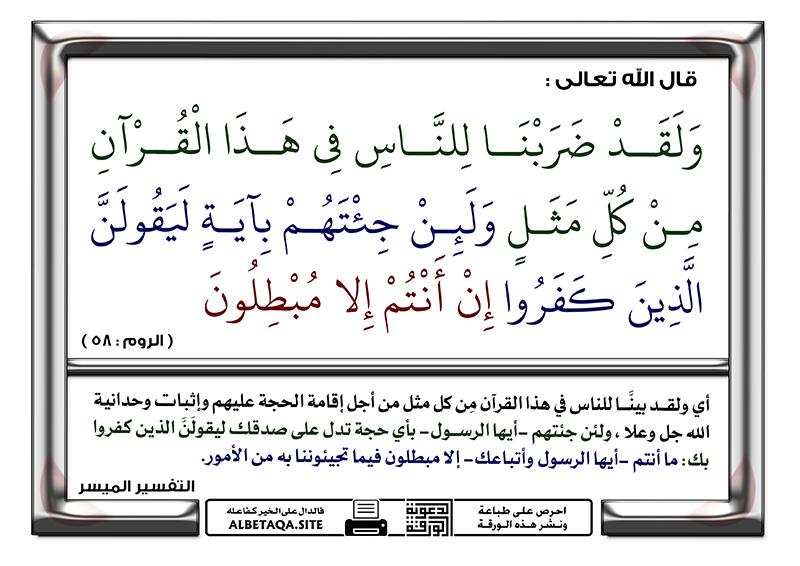 ولقد ضربنا للناس في هذا القرآن من كل مثل