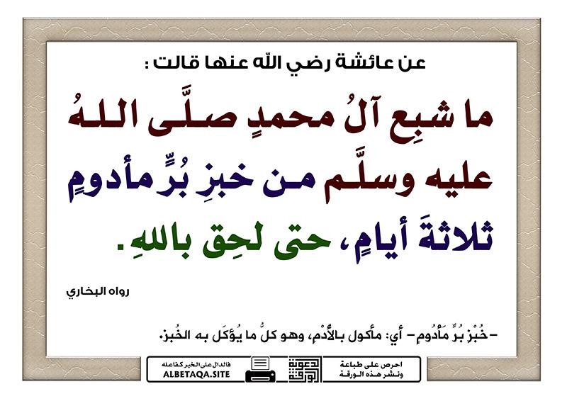 ما شبع آل محمد صلى الله عليه وسلم من خبز بر