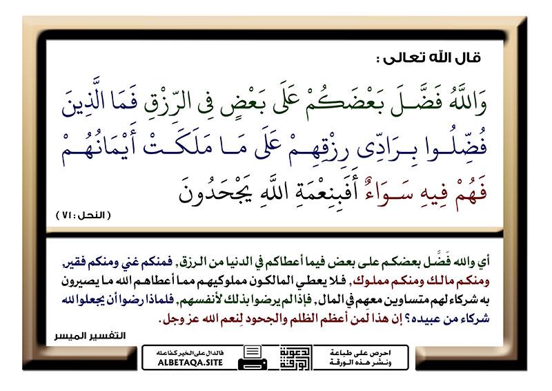 والله فضل بعضكم على بعض في الرزق